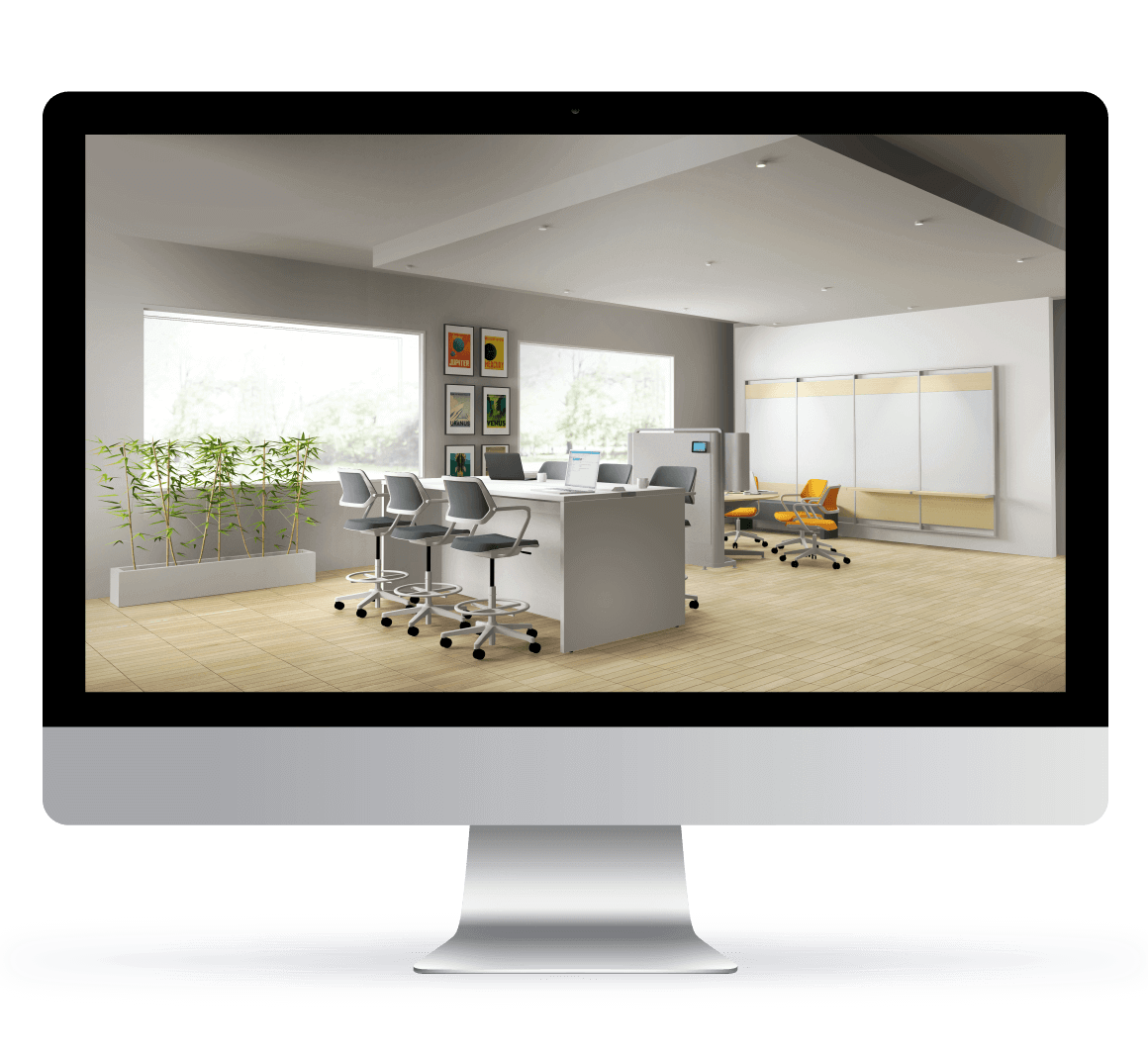 Computer Screen With Office Rendering