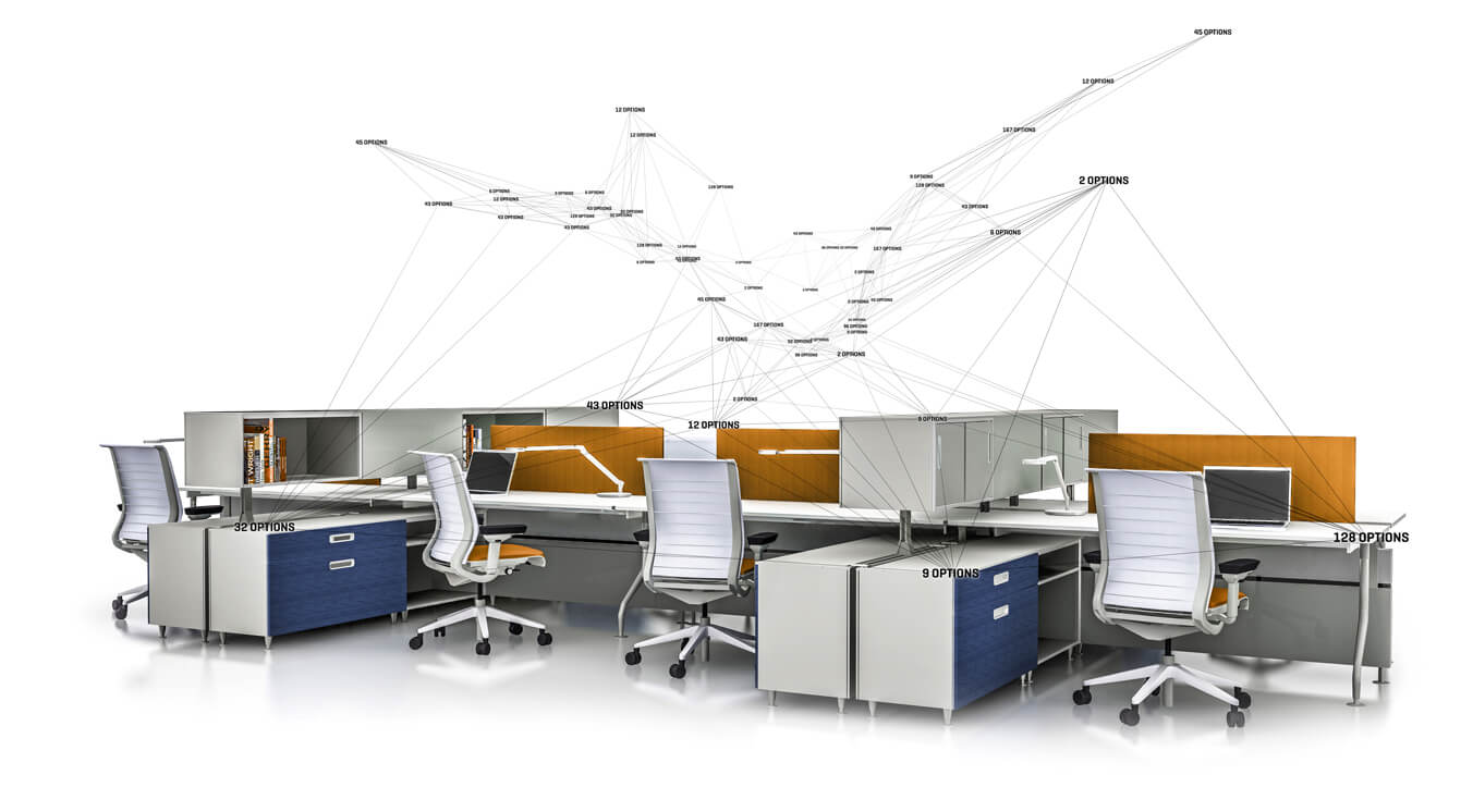 3D rendering of office furnitures with interconnected lines