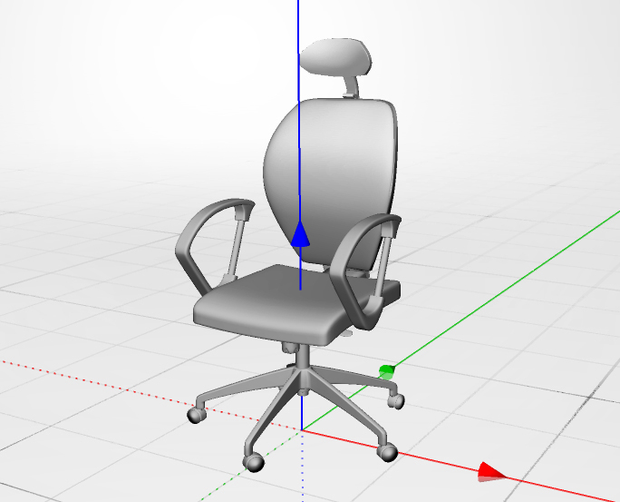 3D chair with lines showing the three axis